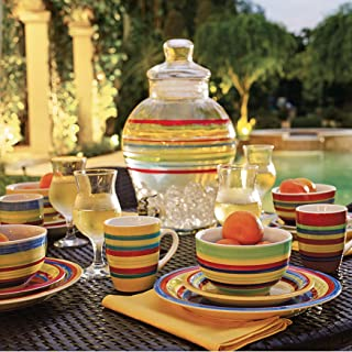Brylanehome Santa Fe Hand-Painted Striped Stoneware Dinnerware (Multi Stripe) - Multi Stripe