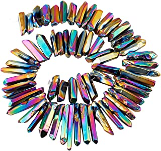 SUNYIK Rainbow Aura Titanium Coated Crystal Points Quartz Polished Sticks Spikes Point Beads 15 inch Strand Drilled