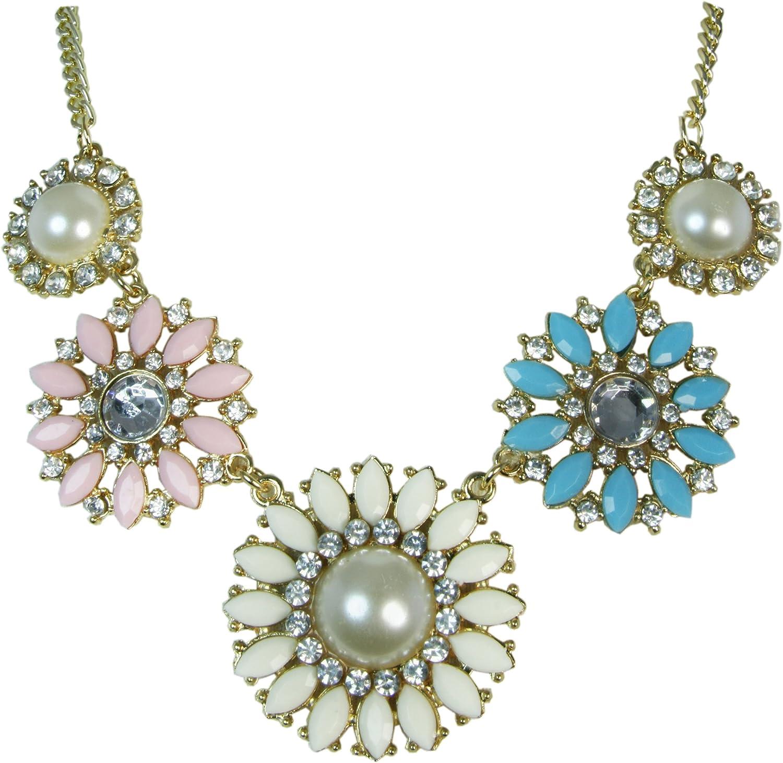 Jouel Fashion Charm Color Resin Rhinestone Flower Shape Collar Bib Necklace