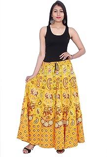 Kastiel Yellow Cotton Long Printed Sanganeri Jaipuri Skirt for Woman's/Girls