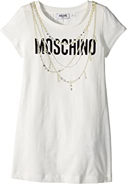 Moschino Kids - Short Sleeve Logo Dress w/ Pearl Necklace Design (Big Kids)