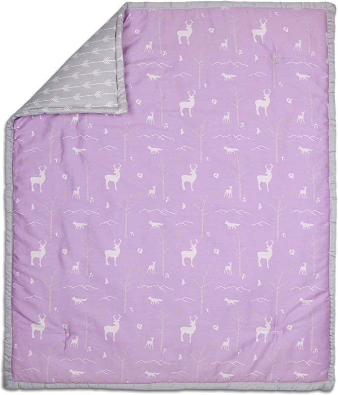 Purple Woodland Theme 100 Cotton Baby Crib Quilt By The Peanut Shell