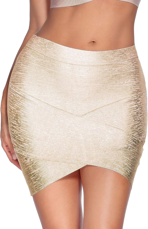 Women's High Waist Rayon Elastic Bandage Bodycon Mini Pencil Skirt