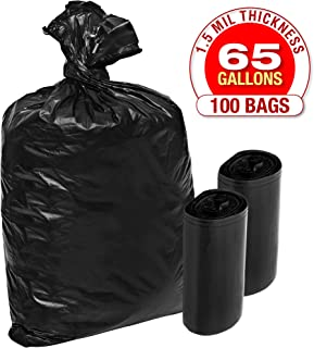 X-Large 1.5 Mil Plastic Garbage Bags - 100 Pack Heavy Duty Black Trash and Storage Bags - 65 Gallon, Super Thick Industrial Grade for Construction, Yard Work, Commercial Use - by Tougher Goods