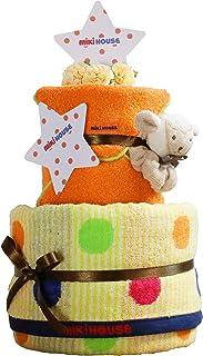 mikihouse(ミキハウス) 使用 出産祝い 日本製 2段 おむつケーキ 今治タオル パンパース テープタイプ S オーガニック ガラガラ imabari towel 女の子 男の子 男女兼用
