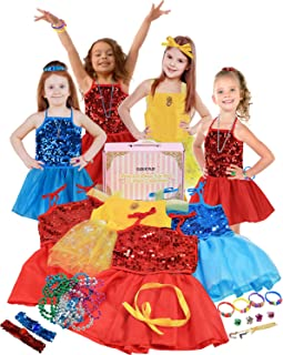 Click N' Play 25Piece Princess Dress Up Trunk Set with 4 Assorted Colorful Dress Up Set, Jewelry, Necklaces, Rings, Bracelets, Hair Accessories & More!