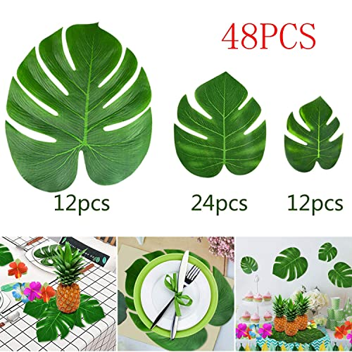 6a3b64401fbea KUUQA 48 Pcs Tropical Party Decor Artificial Plant Tropical Palm Monstera  Leaves Simulation Leaf for Hawaiian