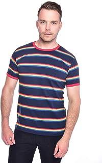 Run & Fly Mens 70s Navy Retro Rainbow Block Stripe T Shirt