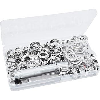 HO2NLE 100 Ensembles Oeillets 11mm Kit de Grommets Eyelets Metal Grommet Kit Oeillet avec Outils Oeillet pour Toile B/âche Tente de R/éparation