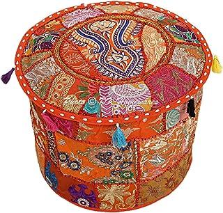 DK Homewares Couverture de Pouf Ronde Indienne Patchwork Orange en Coton brodé de Meubles Tabouret Pouf Pouf décoratif Rep...
