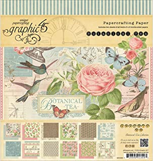 Graphic 45 Botanical Tea Pad for Scrapbooking, 8 by 8-Inch