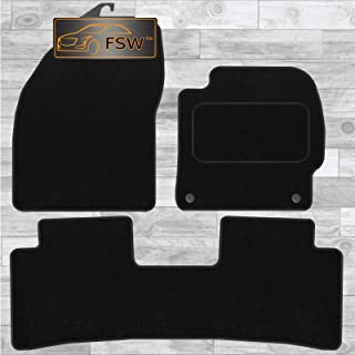 Carsio Black Rubber Tailored Car Floor Mats To fit Ford C-Max Grand 2013-2016 3mm 5pc Set
