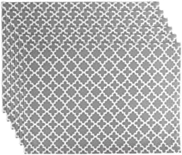 DII Lattice Cotton Table Runner for Dining Room, Foyer Table, Spring Parties and Everyday Use - 14x108, Gray, Placemat Set
