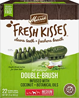 Merrick Fresh Kisses Double-Brush Coconut+Botanical Oils Grain Free Dental Dog Treats