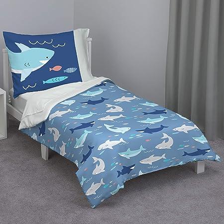 Everything Kids Navy & Light Blue Shark 4Piece Toddler Bed Set - Comforter, Fitted Bottom Sheet, Flat Top Sheet, Reversible Pillowcase, Navy, Light Blue, Grey, Teal (7019416)