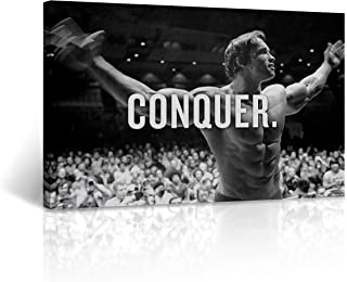 Arnold Schwarzenegger Canvas Print Qonquer Quote Black and White Wall Art Inspirational Motivational Wall Art Home Decor Stretched - Ready to Hang -%100 Handmade in The USA - 30x40