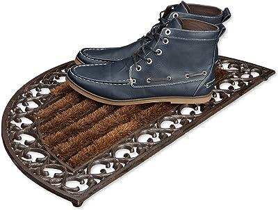 Relaxdays Paillasson en fonte avec brosse essuie-pieds tapis d'entrée en fonte rond h x l x P: 4 x 72 x 39 cm style maison de campagne ancien anti-dérapant natte de sol, bronze