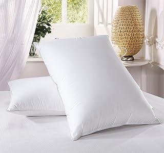 Royal Hotel Almohada de plumón de 500 hilos, 100 % algodón, almohadas estándar de plumón, tamaño estándar/queen, almohadas de firmeza media, juego de 2