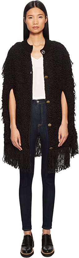 Cotton Fur Knit Cape