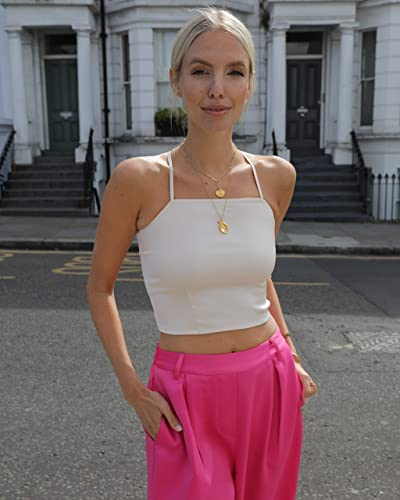 The Drop Women's Shell Pink Fitted Halter Neck Strappy Back Crop Top By @leoniehanne