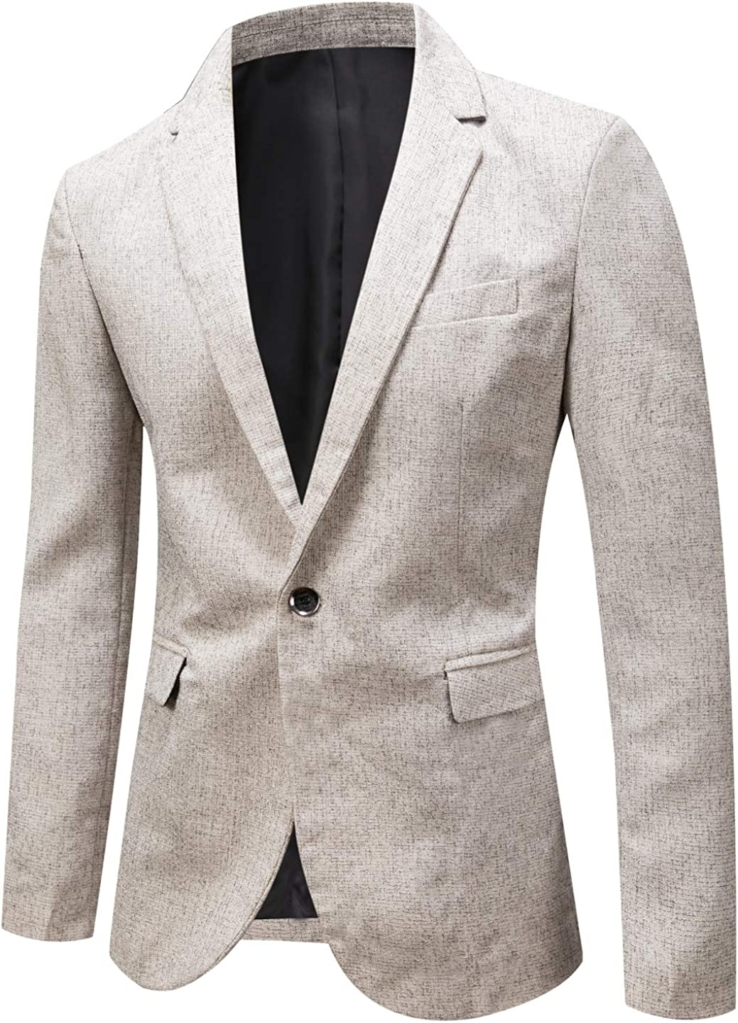 chouyatou Men's Casual Lightweight Striped One Button Slim Sports Coat Suit Jacket