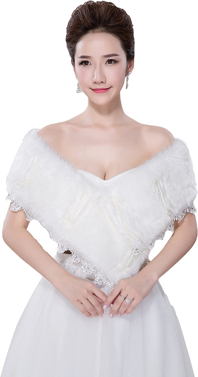 AK Beauty Women's Faux Fur Wrap Shawl Cape Party Or Wedding