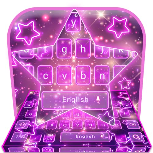 Glitter Sparkling Purple Star Keyboard Theme