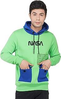Urban Age Clothing Co. Men's Cotton Heavy Weight Fleece Printed NASA Double Pocket Hoodie Sweatshirt for Winter Temperatur...