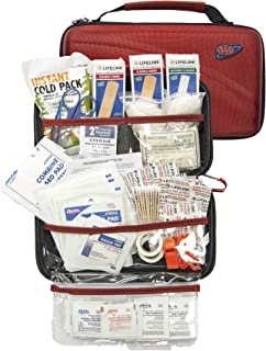 AAA 121 Piece Road Trip First Aid Kit packaged in compact hard shell foam carry case, ideal for emergency use in cars, camping, hiking, or offices alike