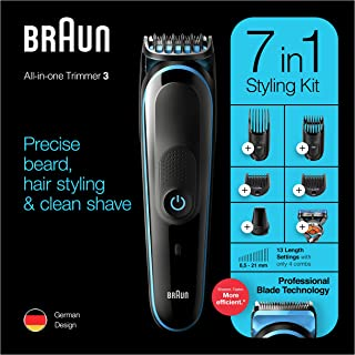 Braun MGK 3245 All-in-one Trimmer 7-in-1 Beard Trimmer, Hair Clipper, Detail Trimmer, Rechargeable, with Gillette ProGlide...