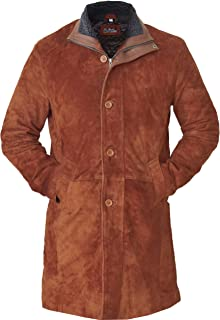 Natural Distressed Genuine Suede Leather Pea Coat for Men - Brown Suede Jacket