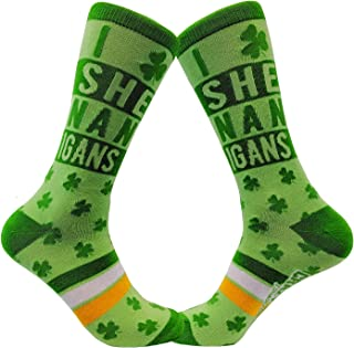 I Clover Shenanigans Socks Funny Irish Green Drinking Footwear