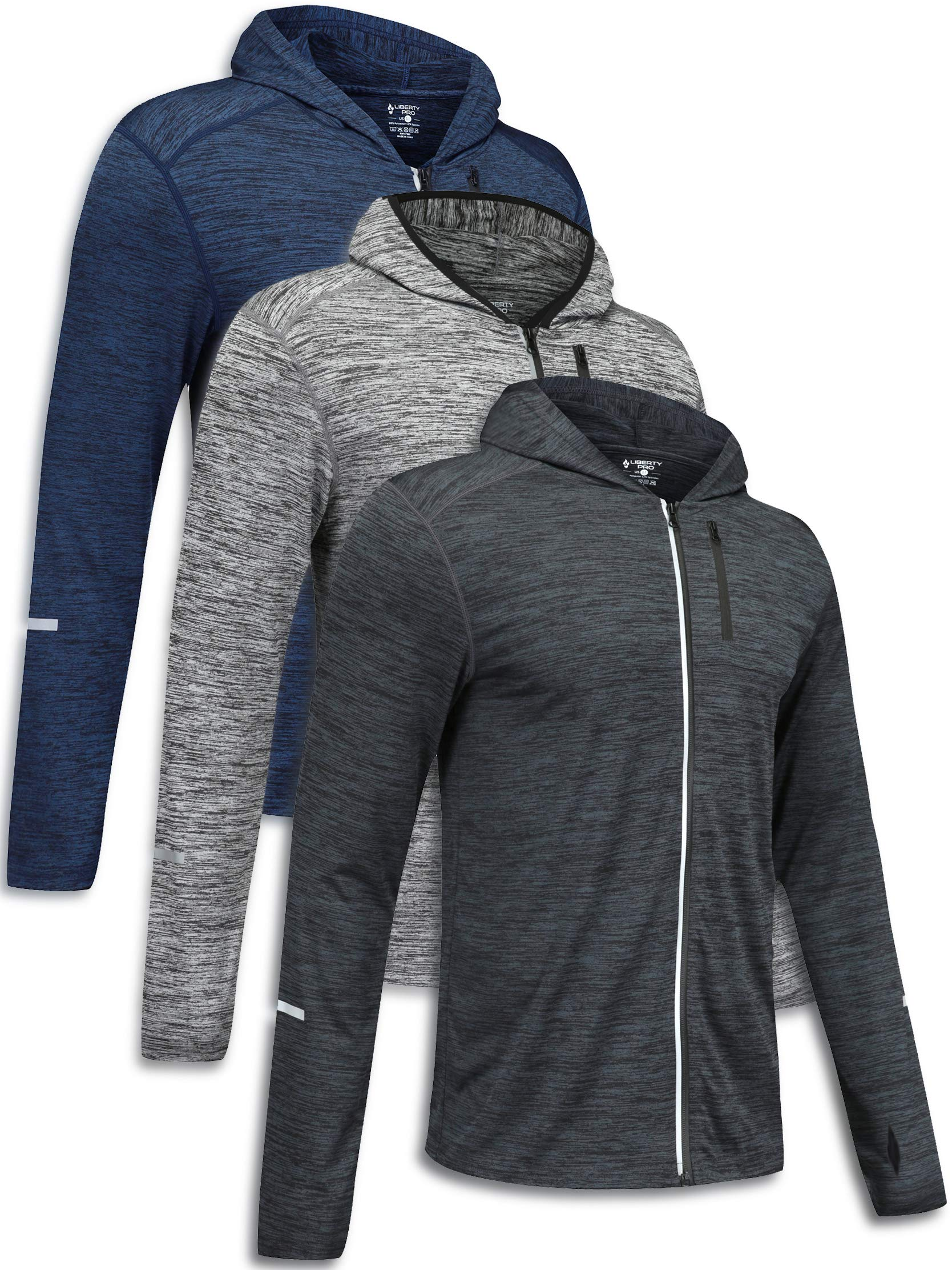 Best Buy 3 Pack Men's Long Sleeve Active Zipper Shirts Quick Dry Pullovers Athletic Running Cycling Gym Tops Bulk Bundle Reviews