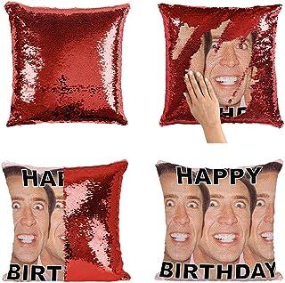 Happy Birthday Nicolas Cage Faces Actor P27 Sequin Pillow, Almohada, Sequin Pillowcase, Funda de Almohada, Scales Pillow, Pillow Gift, Magic Pillow, Mermaid Pillow, Regalo de Navidad