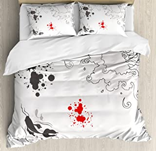 Ambesonne Asian Duvet Cover Set, Koi Fish Swimming in Sketch Grunge Sea Waves Hand Dawn Traditional Artwork, Decorative 3 Piece Bedding Set with 2 Pillow Shams, King Size, Black White