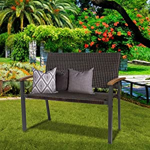 43 Inch Garden Bench Metal Frame Outdoor Seating Furniture,Patio Wicker Bench Double Seats Chair w/Backrest and Wooden Arms for Porch Park Balcony Yard,All Weather