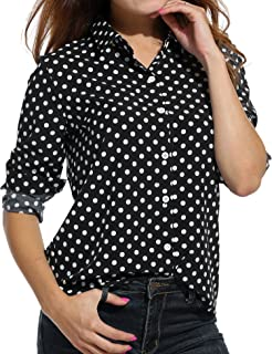 Best black and white polka dot button up Reviews