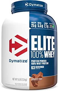 Dymatize Elite 100% Whey Protein Powder, Take Pre Workout or Post Workout, Quick Absorbing & Fast Digesting, Chocolate Fudge, 5 Pound