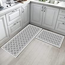 IMYOTH Anti Fatigue Kitchen Comfort Mat Set of 2 Non Slip Waterproof PVC Kitchen Rug Thick Cushioned Comfort Standing Floo...