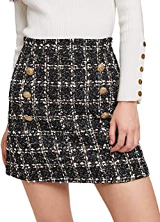 Women's High Waist Above Knee Double Breasted Tweed Short Mini Skirt