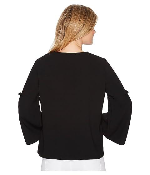 v con corta en camiseta de negro cuello manga Karen Kane 8nxaFXqIS