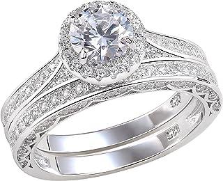 Newshe خواتم زفاف للنساء خاتم الخطوبة 925 الفضة الاسترليني 2.4Ct جولة أبيض AAAAA Cz حجم 4-12