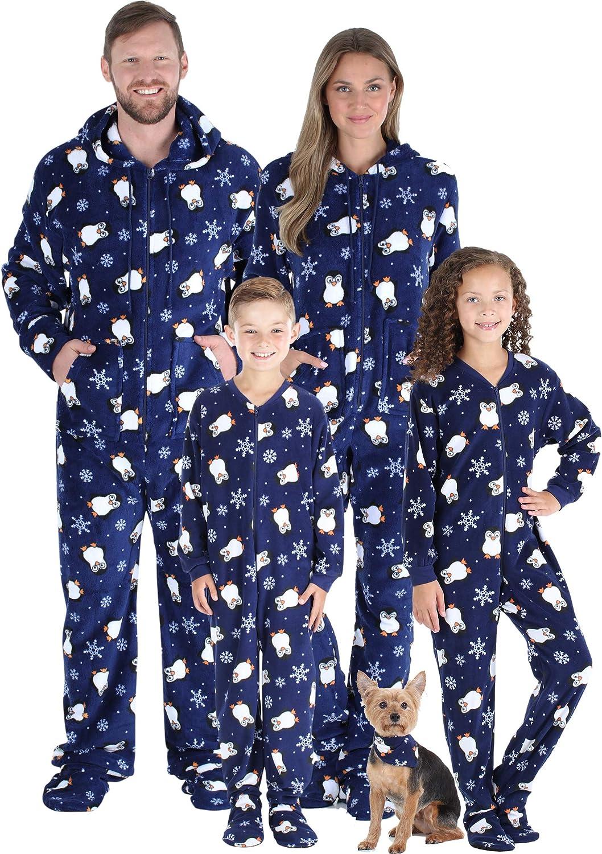 SleepytimePJs Matching Family Christmas Pajama Sets, Winter Footed Onesies