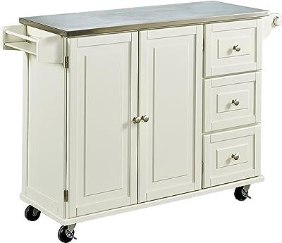 Liberty White Kitchen Cart With Stainless Steel Top By Home Styles Amazon De Kuche Haushalt Wohnen