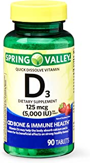 Spring Valley Quick Dissolve Vitamin D3 Tablets, 125 mcg (5000 IU), Natural Strawberry Flavor, 90 Count