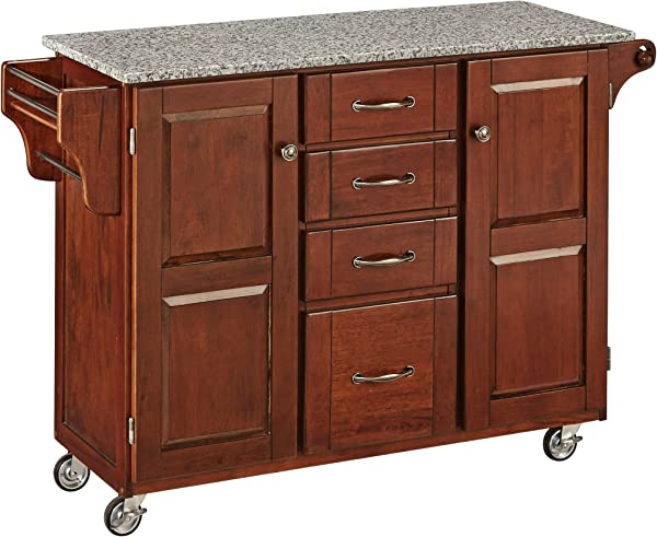 Create A Cart Medium Cherry 2 Door Cabinet Kitchen Cart With Salt And Pepper Granite Top By Home Styles
