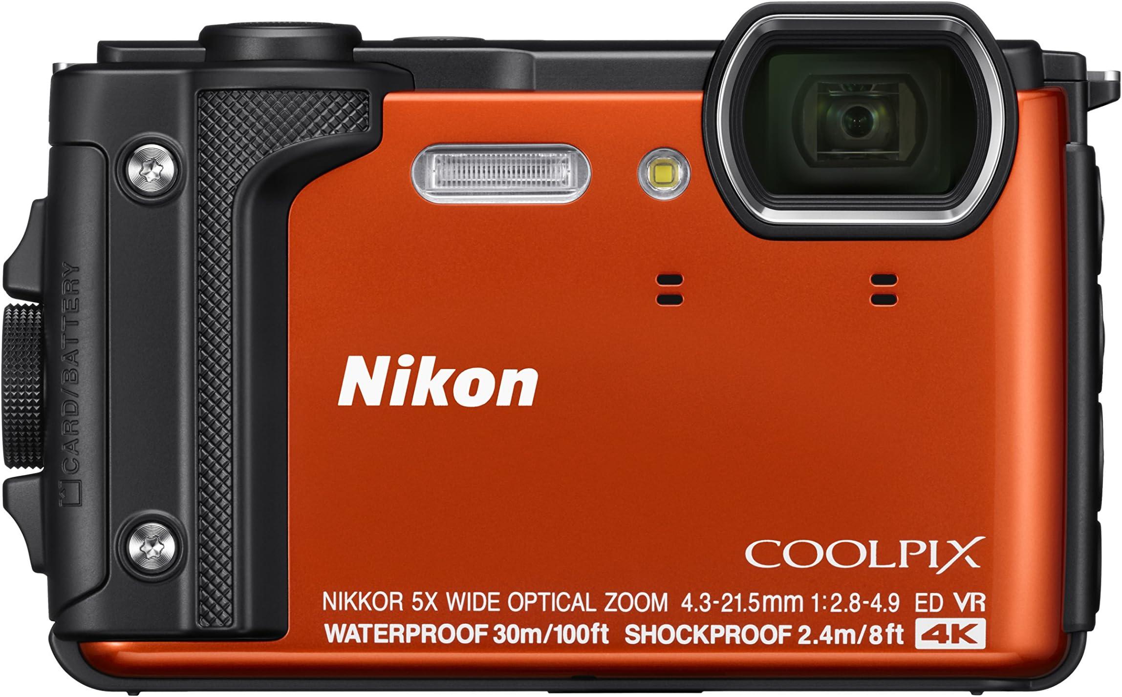 """Nikon W300 Waterproof Underwater Digital Camera with TFT LCD, 3"""", Orange (26524)"""