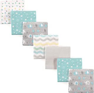 Luvable Friends Unisex Baby Cotton Flannel Receiving Blankets Bundle, Basic Elephant, One Size