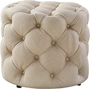 Luxe-Living Inspired Home Linen Ottoman, 20.5 Inches L by 20.5 Inches W by 17 Inches H, Allover Tufted, Modern Contemporary, Beige