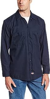 DICKIES LL535NV-L Long SLV Indstrl Shirt, Poplin, Navy, L